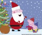 Peppa Pig en George praten met Papa Noel, in kerst