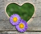 Hart en twee bloemen
