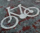 Geschilderd fiets, signaal