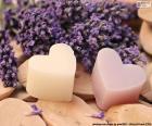 Twee harten met lavendel