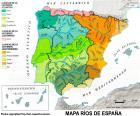Kaart van rivieren in Spanje
