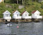 Huizen op het meer, Noorwegen