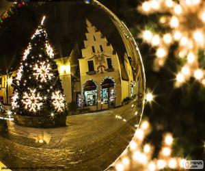 puzzel Reflectie van de kerstboom