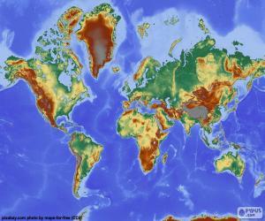 puzzel Reliëf wereldkaart