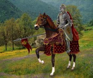 puzzel Ridder met helm en armor en met zijn speer klaar gemonteerd op zijn paard