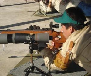 puzzel Rifle schutter in actie