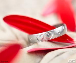 puzzel Ring met twee harten
