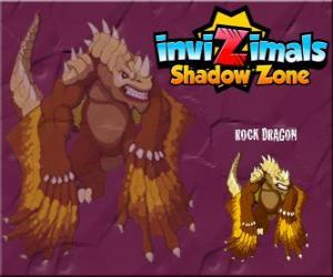 puzzel Rock Dragon. Invizimals Shadow Zone. Rock draken leven in de kraters van de vulkanen