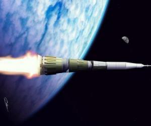 puzzel Rocket in de uitgestrektheid van het heelal