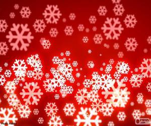 puzzel Rode achtergrond sneeuwvlokken