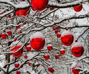 puzzel Rode kerstballen