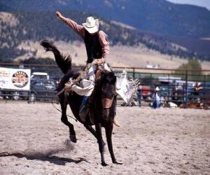 puzzel Rodeo - Rider in het zadel bronc concurrentie, rijdend op een wild paard