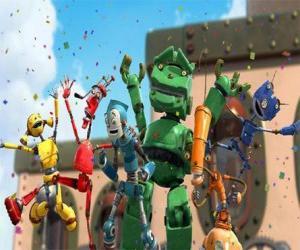 puzzel Rodney vrienden in Robot City - De Rusties geleid door Fender