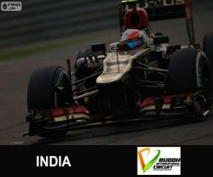 puzzel Romain Grosjean - Lotus - Grand Prize van India 2013, 3e ingedeeld