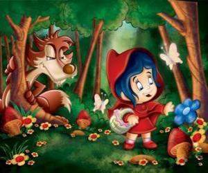 puzzel Roodkapje in het bos met de Wolf verborgen tussen de bomen