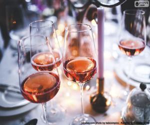 puzzel Roze wijn glazen