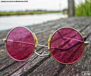 puzzel Roze zonnebril