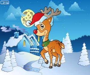 puzzel Rudolf, het rendier met de rode neus