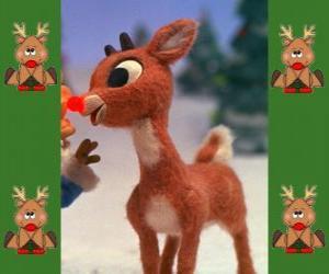 puzzel Rudolph, de rood-nosed reindeer