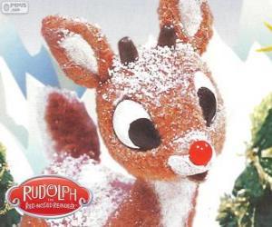 puzzel Rudolph, de weinig rendieren met rode neus