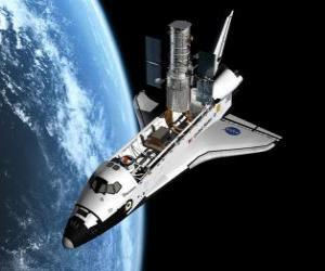 puzzel Ruimteveer of spaceshuttle in de ruimte