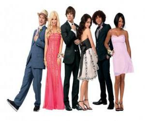 puzzel Ryan Evans (Lucas Grabeel), Sharpay Evans (Ashley Tisdale), Troy Bolton (Zac Efron), Gabriella Montez (Vanessa Hudgens), Chad (Corbin Bleu), Taylor (Monique Coleman) zeer elegant