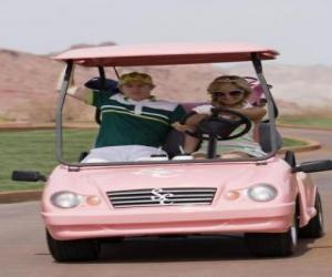 puzzel Ryan Evans (Lucas Grabeel), Sharpay Evans (Ashley Tisdale) in de golf auto
