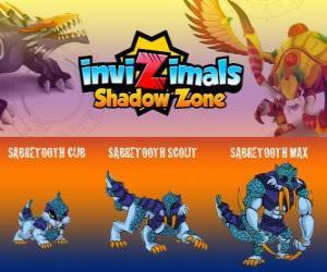 puzzel Sabretooth Cub, Sabretooth Scout, Sabretooth Max. Invizimals Shadow Zone. De bewaker van het park die ervan droomt een superheld