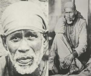 puzzel Sai Baba, Indiase goeroe, yogi en fakir die wordt beschouwd door zijn volgelingen als een heilige