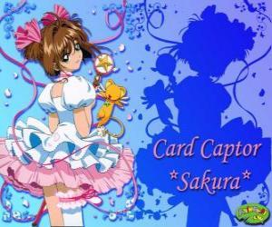 puzzel Sakura, de kaart Captor met een van haar jurken naast Kero