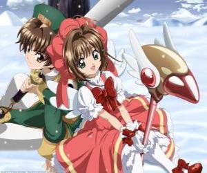 puzzel Sakura en Syaoran Li, een afstammeling van Clow Reed, de tovenaar die schiep de Clow kaarten