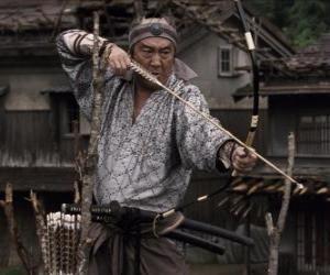 puzzel Samurai schieten zijn boog