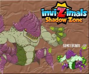 puzzel Sanctacaris. Invizimals Shadow Zone. De eerste dinosaurus die gebruikt zijn handen om te vechten