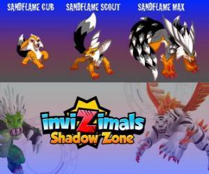 puzzel Sandflame Cub, Sandflame Scout, Sandflame Max. Invizimals Shadow Zone. Deze Invizimals hebben beschermd eeuwenlang de graven van de farao's