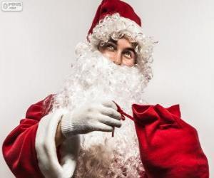 puzzel Santa Claus blij met giften van Kerstmis