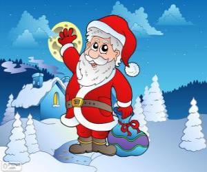 puzzel Santa Claus in een besneeuwde landschap