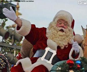 puzzel Santa Claus of Kerstman met een glimlach begroet de kinderen