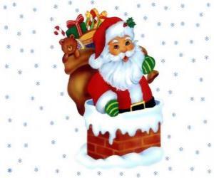 puzzel Santa Claus of Kertsman komt binnen via de schoorsteen beladen met vele geschenken