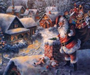 puzzel Santa Claus op het dak van een huis naast een schoorsteen