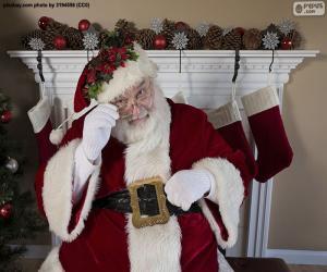 puzzel Santa Claus, open haard