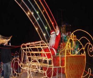 puzzel Santa Claus zwaaien uit de magische slee geladen