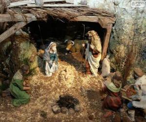 puzzel Scène van de Geboorte van Christus Jezus in een stal in de buurt van Betlehem