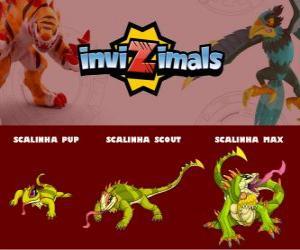 puzzel Scalinha in drie fasen Scalinha Pup, Scalinha Scott en Scalinha Max, Invizimals