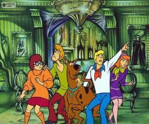 puzzel Scooby Doo en zijn bende van vrienden zijn bang