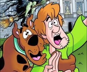 puzzel Scooby-Doo en zijn vriend Shaggy weglopen bang