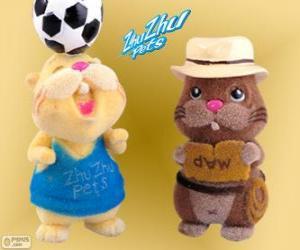 puzzel Scoodles met de hoed en de riem met een andere hamster van Zhu Zhu Pets