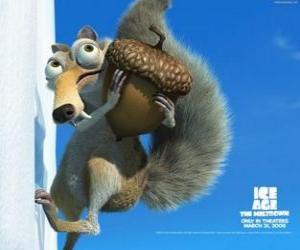 puzzel Scrat, de Saber-toothed eekhoorn geobsedeerd met de eikels