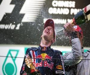 puzzel Sebastian Vettel in het podium