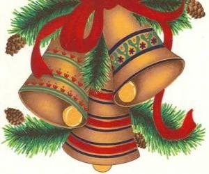 puzzel Set van drie klokken versierd met kerstversiering