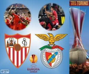 puzzel Sevilla vs Benfica. Europa League 2013-2014 finale in het Juventus Stadium, Turijn, Italië